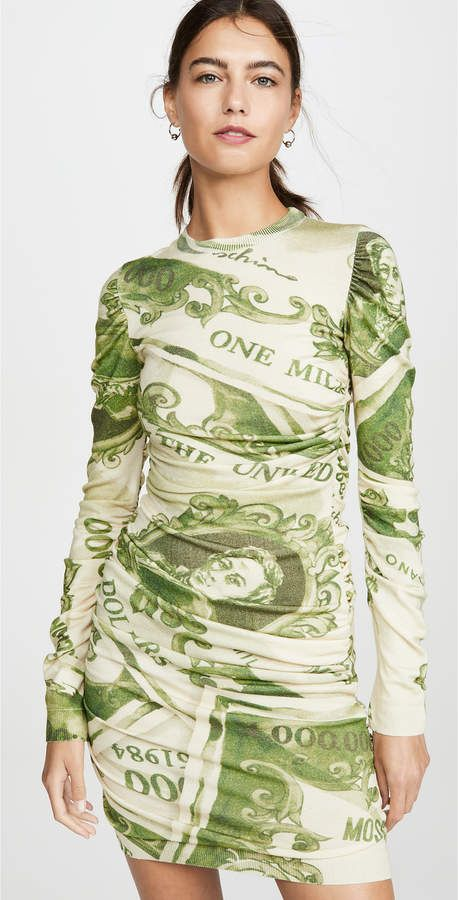 Moschino Long Sleeve Dollar Bill Mini Dress
