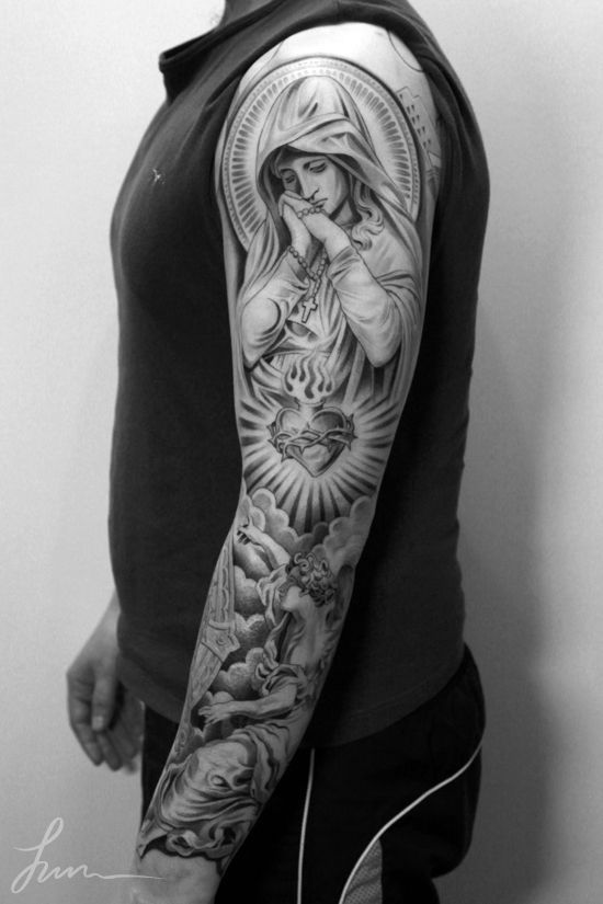 angel sleeve tattoo - Google Search: