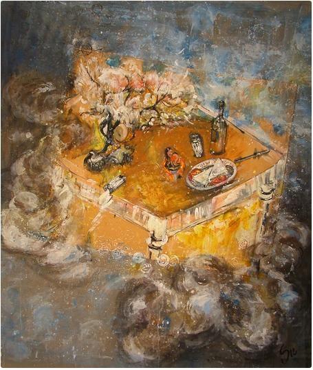 Çingeneler, 150x150 cm, Tuval üzeri akrilik, 2006 - Su YUCEL