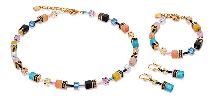 Geo Cube warm pastel multicolour necklace, earrings and bracelet 2838_1549 – Coeur de Lion jewellery