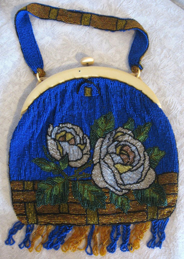 Antique Larger Size Bakelite / Catalin Handle Blue & Gold White Roses Beaded Purse with Original Mirror