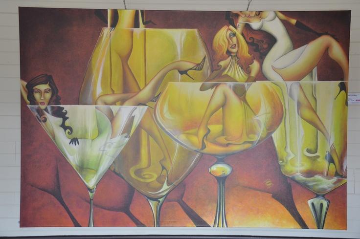 Amazing artwork on the walls in Calais Vineyard restaurant