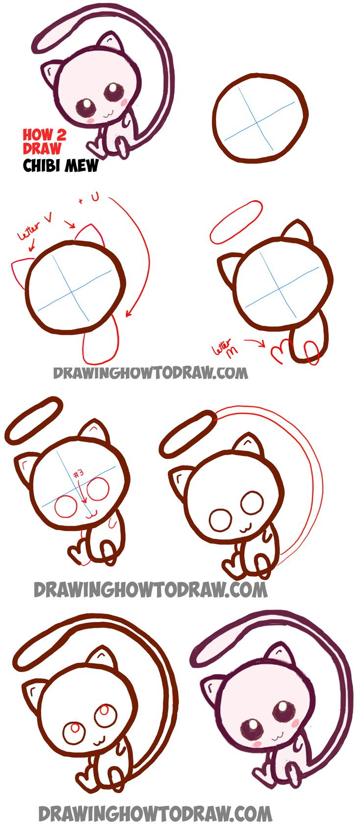Learn How to Draw Cute Baby Chibi Mew from Pokemon Simle Steps Drawing Lesson