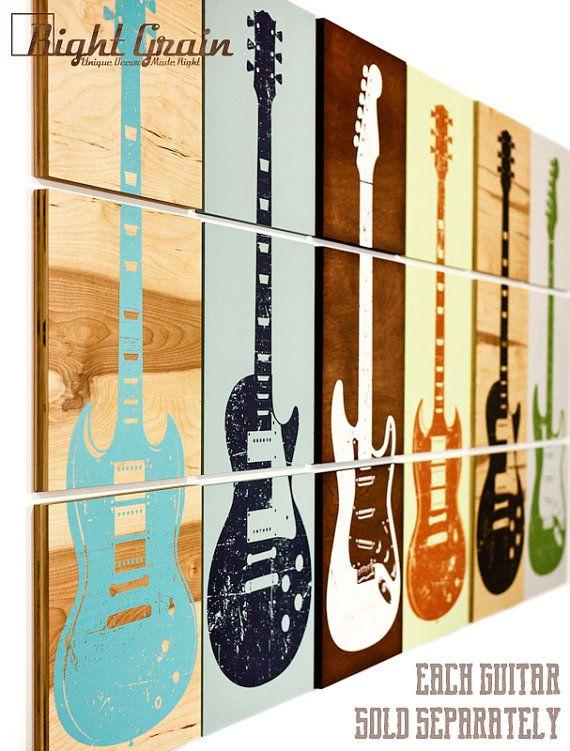 Custom Guitar Art on 3 Panels Design 3 Music Art by RightGrain