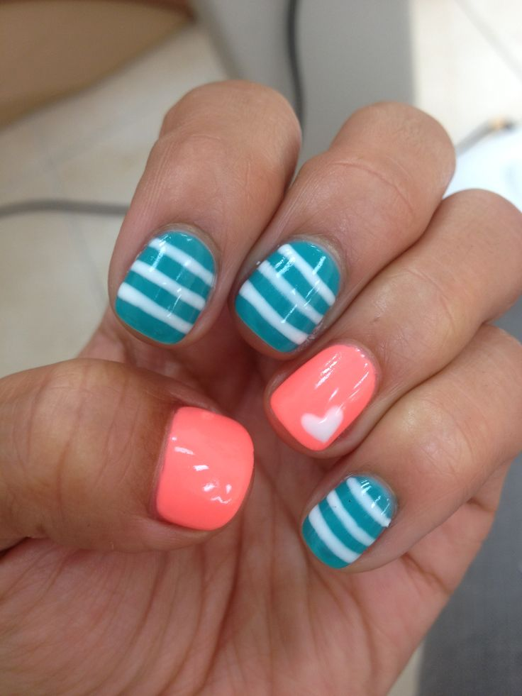 """summer striped gel manicure with love  Harmony Gelish All About The Glow Collection """"I'm Brighter Than You"""" """"Radiance Is My Middle Name"""""""