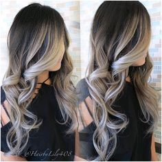brown to silver ombre hair - Recherche Google                                                                                                                                                                                 More