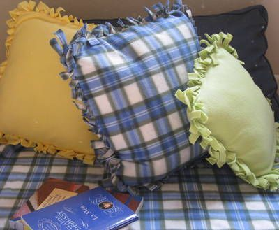 Dorm Crafts: Easy No-Sew FleecePillows...I'm going to choose pretty fabric & make these as CHRISTMAS PRESENTS...CHEAP & EASY!!!!