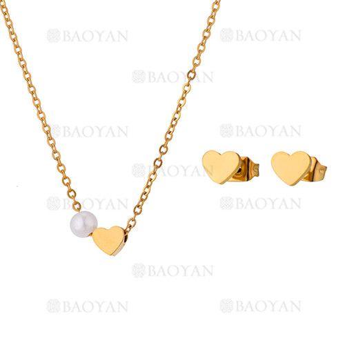 juego de collar y aretes de corazon con perla de dorado en acero-SSNEG813298