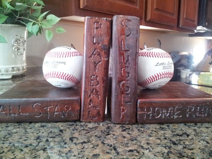 Bookends my hubby and I made for our son's baseball room.