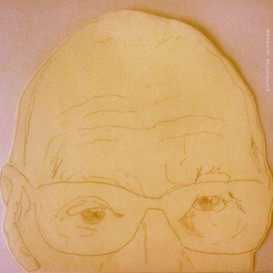 """Tekening van oude man, illustratie bij verhaaltje """"De Jas"""""""