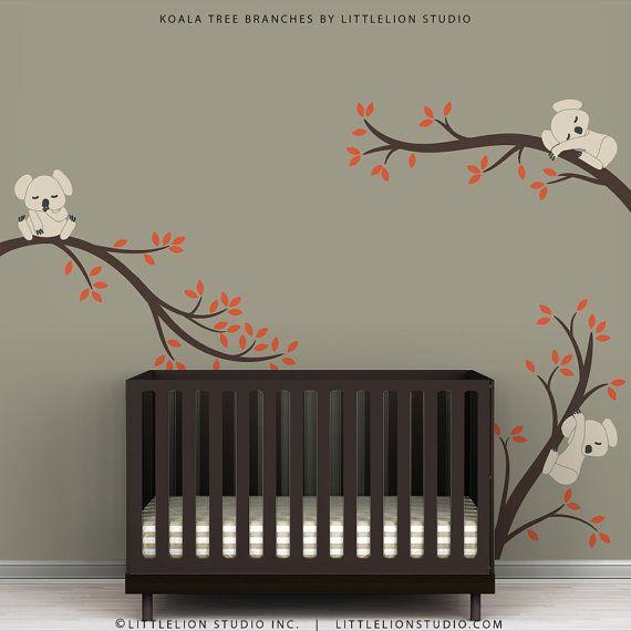 Baby Nursery Wall Decal Beige Dark Brown Orange - Koala Tree Branches by LittleLion Studio