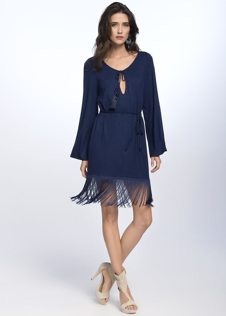 FRINGE DRESS €119.00 Bohemian style dress, created from the finest quality of Italian viscose, finished with fringes at the bottom.