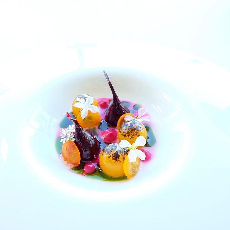 Beet Sungold Tomato Whey Basil Candied Kumquats by @karloevaristo