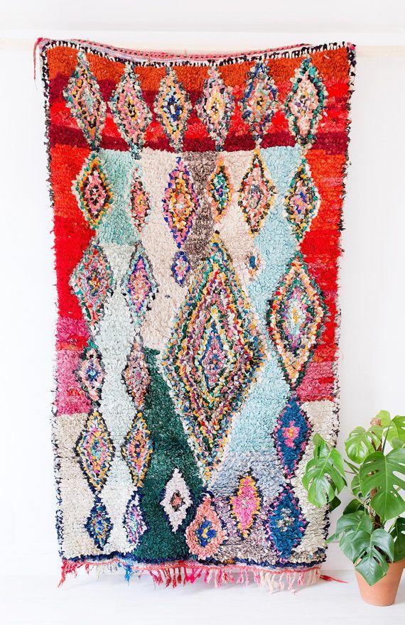 "Vintage Moroccan Boucherouite Rug, ""The Wilder,"" Rag Rug, Berber Rug, Geometric Rug, Colorful Rug, Bohemian Decor, Boho Rug"
