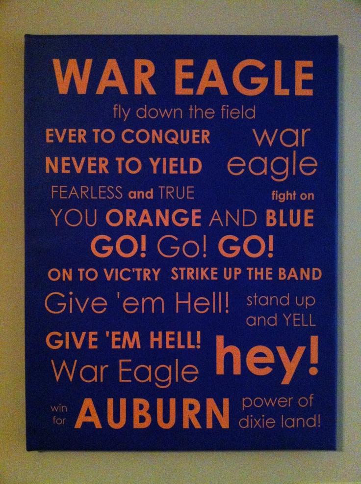 Auburn University Fight Song Subway Art. $60.00, via Etsy.