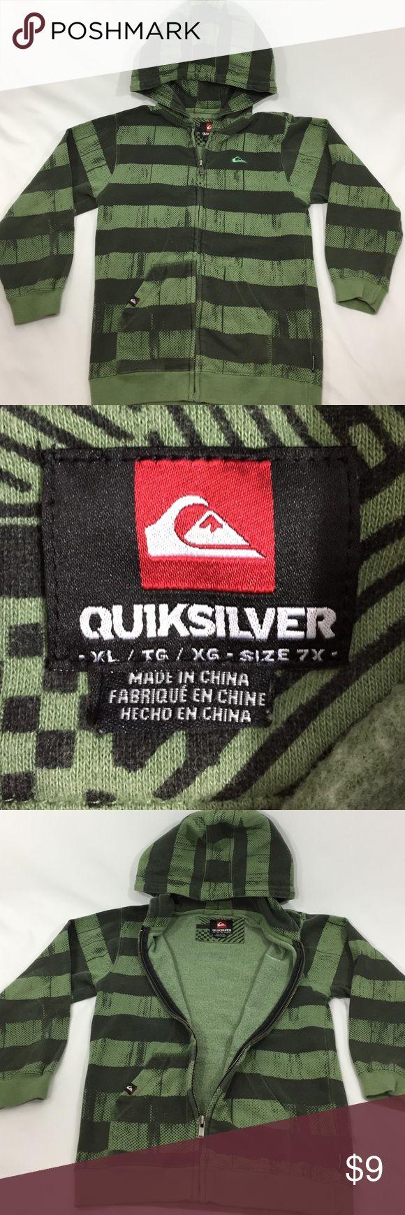 QUICKSILVER boys 7X green & black hoodie XL zip up QUICKSILVER boys 7X XL hoodie zip up with pockets. Zero flaws from a smoke and pet free home. Quicksilver Shirts & Tops Sweatshirts & Hoodies