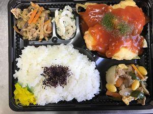 平成29年4月3日(月)ランチメニュー:鶏チリソース/豚肉と卵の中華風/きゅうちくマヨ/大根のきんぴら