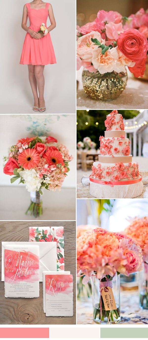 coral pink wedding color ideas and coral pink bridesmaid dresses