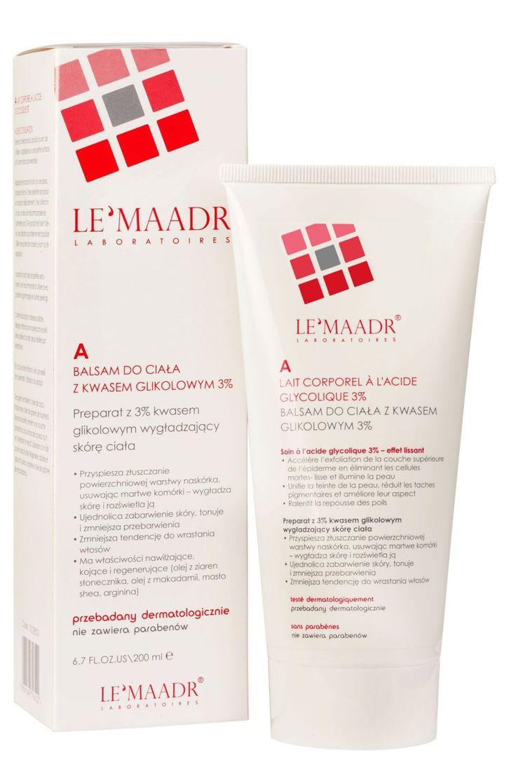Preparat z 3% kwasem glikolowym wygładzający skórę ciała • Przyspiesza złuszczanie powierzchniowej warstwy naskórka, usuwając martwe komórki – wygładza skórę i rozświetla ją • Ujednolica zabarwienie skóry, tonuje i zmniejsza przebarwienia • Zmniejsza tendencję do wrastania włosów • Ma właściwości nawilżające, kojące i regenerujące (olej z ziaren słonecznika, olej z makadamii, masło shea, arginina)  nie zawiera parabenów przebadany dermatologicznie 200 ml