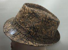 Trilby Hat - Taupe Cream & Black Zig Zag 57