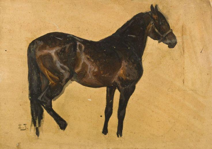 Zygmunt Józefczyk - STUDIUM KAREGO KONIA Olej, tektura; 32 x 47 cm