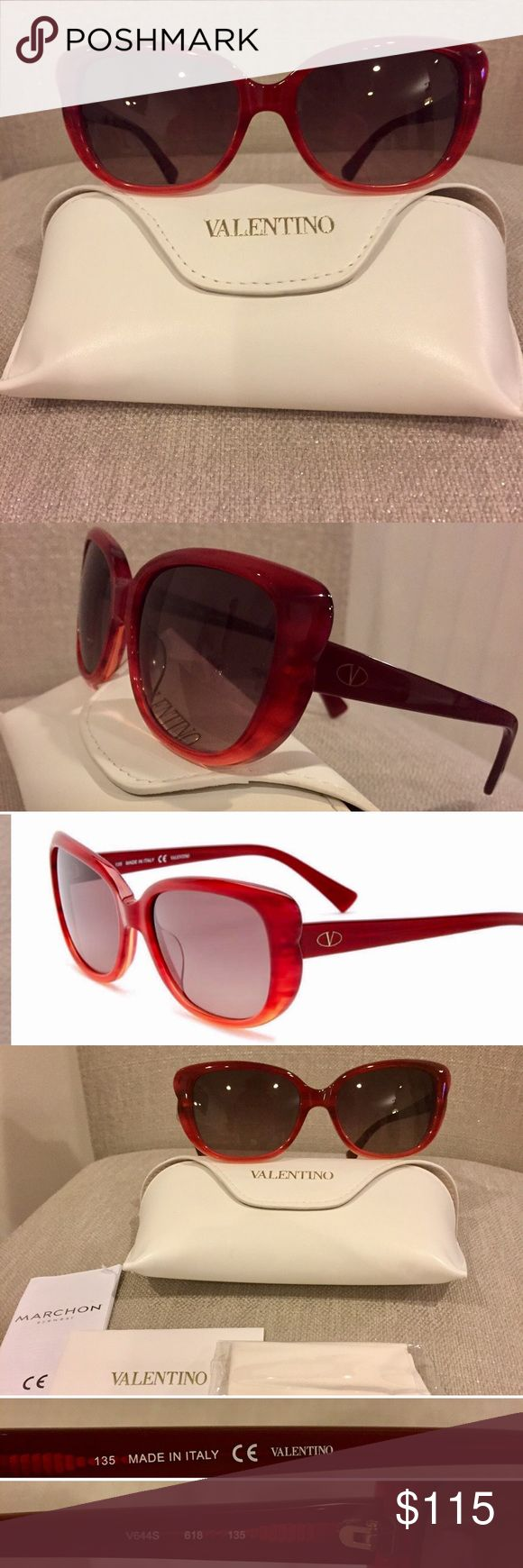 Valentino Women's Cat Eye Sunglasses - Gender: Women's - Style: Cat eye - Measurement: 54-17-135mm (eye-bridge-temple) - Frame color: Demi Red/orange - Lens color: Smoke - Frame material: Acetate - Lens type: Plastic - 100% UV protection - Case , Authenticity card and cleaning cloth included - Made in Italy Valentino Accessories Sunglasses