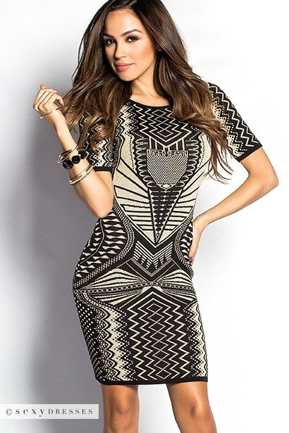 Black and Tan Shimmery Tribal Print Sweater Dress #PinYourWish @ShopSexyDresses