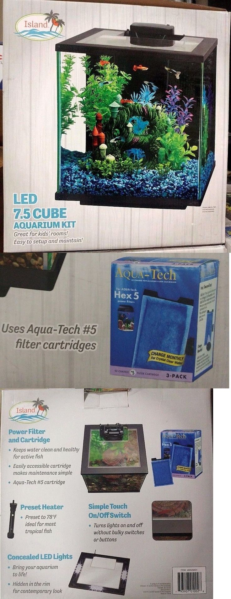 Aquariums and Tanks 20755: Central Aquatics Island 7.5-Gallon Cube Glass Aquarium Kit With Led Light New! -> BUY IT NOW ONLY: $58.5 on eBay!