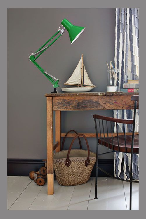 Mole's Breath - I LOVE this colour! Especially with the aged wood against it.  Decorating Trends 2014 - Farrow & Ball