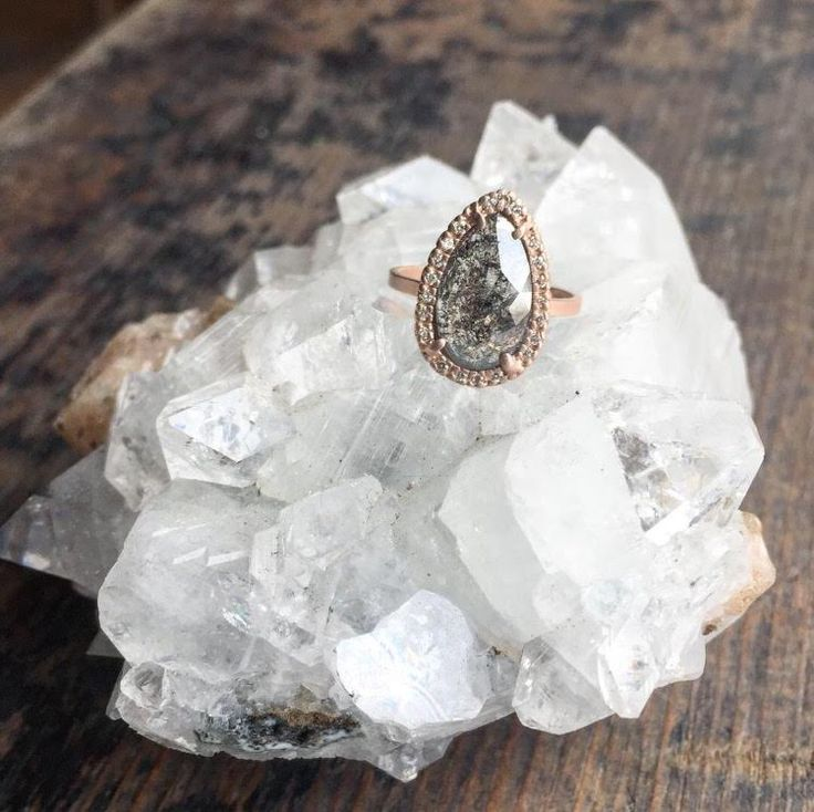 natural rose cut black diamond engagement with pavé halo  ::  Alexis Russell