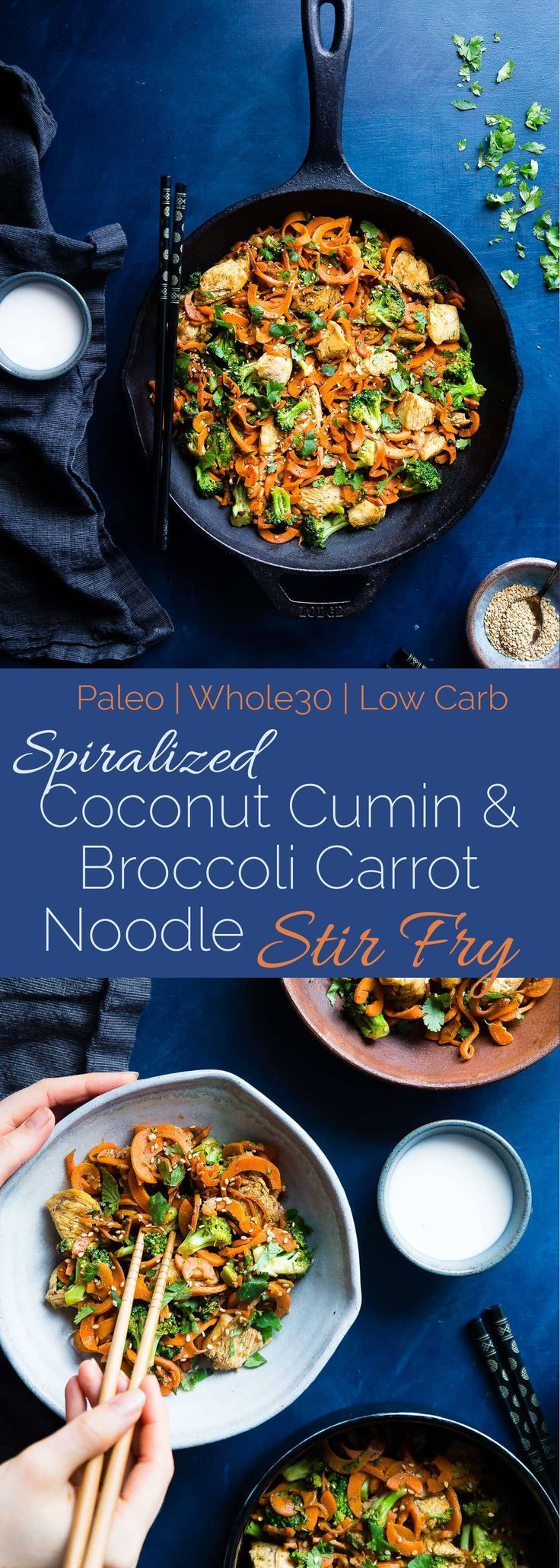 Whole30 Chicken Stir Fry with Cumin Coconut Carrot Noodles - This gluten free, low carb chicken stir fry has creamy coconut, coriander and cardamom! Add broccoli and carrot noodles for a quick and easy, paleo weeknight dinner! | Foodfaithfitness.com | @FoodFaithFit