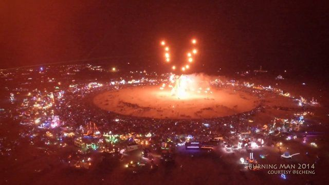Aerial footage of Burning Man 2014. Shot with DJI Phantom 2 quadcopter, Zenmuse H3-3D gimbal, GoPro HERO 3+ Black, with DJI Lightbridge and Lilliput monitor as FPV and livestreaming solution. Some of this footage was streamed live to Burning Man's Ustream live webcast during the event. If you're interested in what it was like to fly drones at Burning Man, check out this writeup: http://skypixel.org/post/96527622904