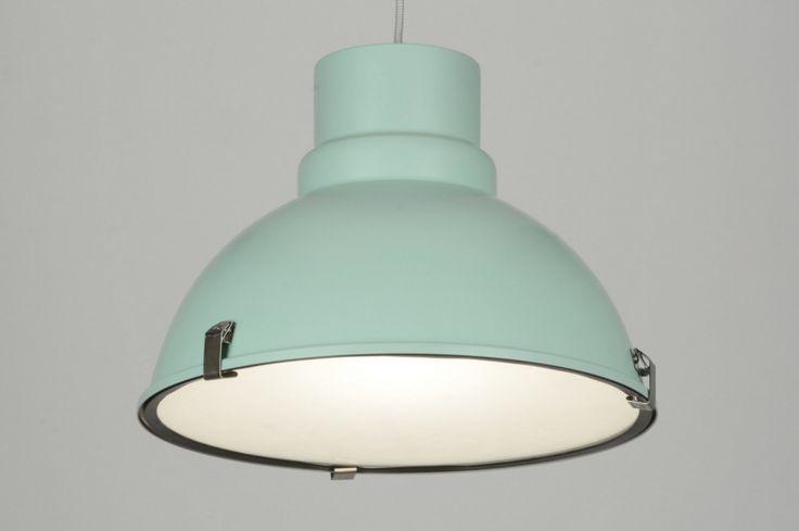 Hanglamp 71837 modern retro industrie look glas mat glas metaal groen rond
