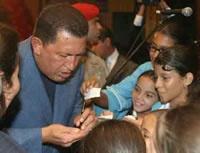 President Hugo Chavez Frias of Venezuela is left handed