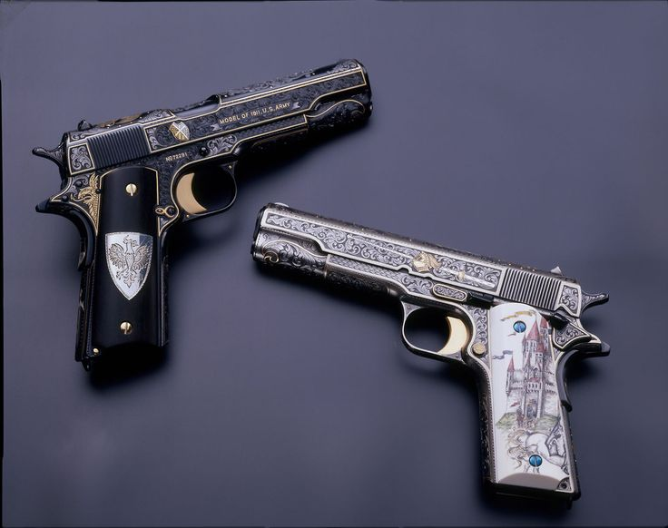 """""""The White & Black Knights"""" 1911 A1 .45 Autos by Mike Dubber Engraving Studio"""