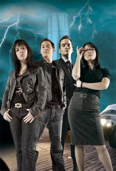"""Torchwood cast picture (minus Jack); links to a blurb about the """"Doctor Who Spin-Off"""" that is Torchwood"""