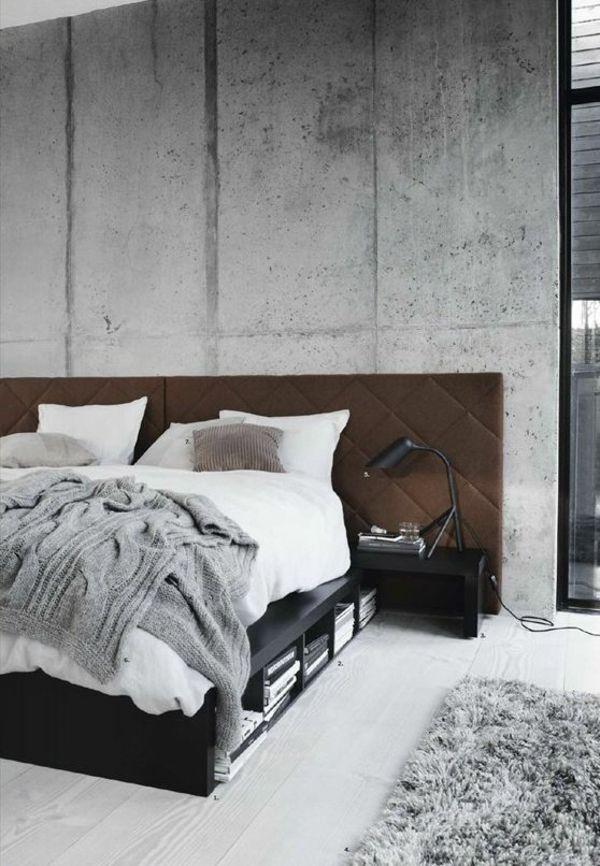 bett beton wand kopfteil modern gepolstert grau farben