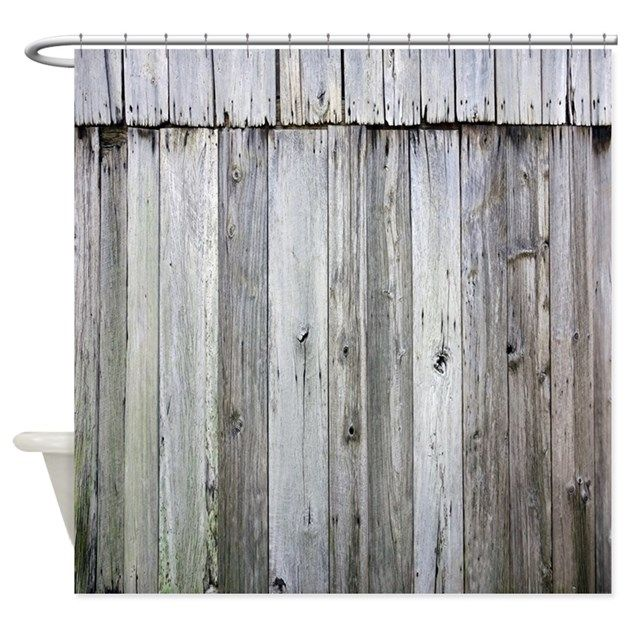 Superb Weathered Rustic Barn Wood Shower Curtain