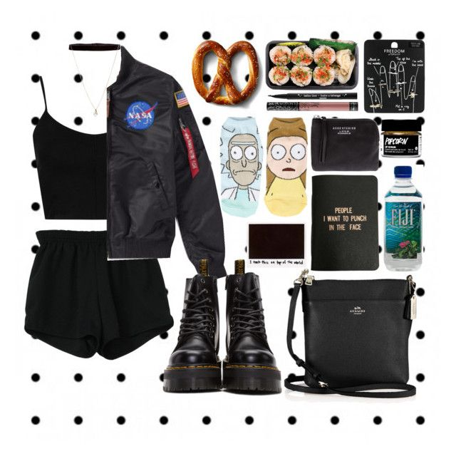 """""""71717"""" by adtricia ❤ liked on Polyvore featuring Cartoon Network, Retrò, Topshop, Alpha Industries, Dr. Martens, Coach, Steve Madden, ASOS, Kat Von D and Acne Studios"""