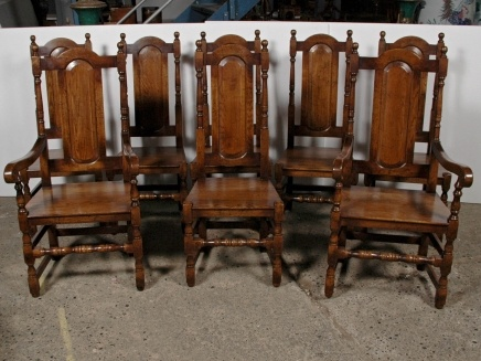 Antique Victorian Tudor-revival style dining chairs
