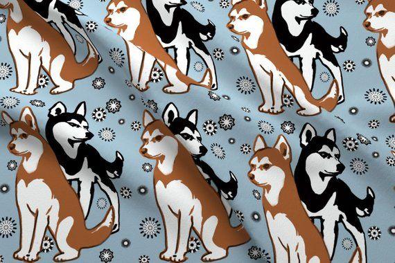 Siberian Husky Fabric Double Colors Siberian Husky By Dogdaze