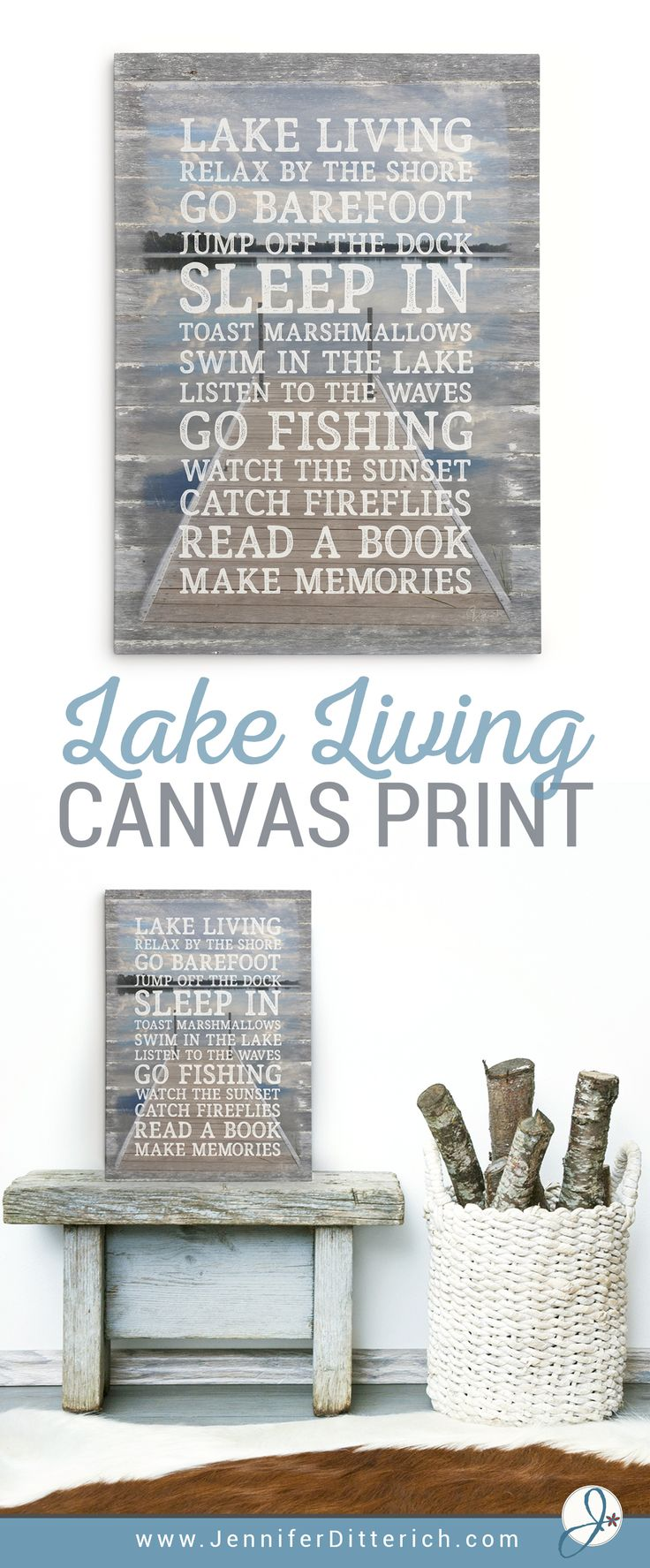 Lake Rules Sign on Canvas | Let everyone know that your rules for lake living are to relax and have fun | Can be customized with your own wording, too.
