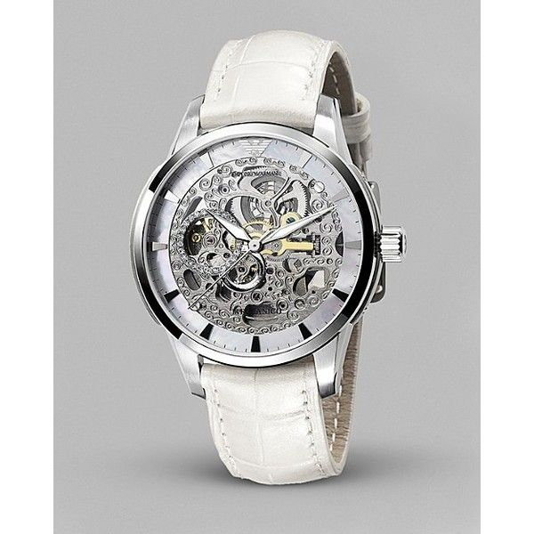 Emporio Armani Women's Mother of Pearl Round Skeleton Meccan... - Polyvore
