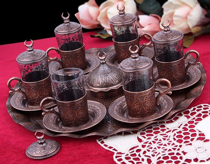 Hediyelik Antik Bakır 6'lı Ab-ı Hayat Çay Takımı : Hediyelik Çay Takımları - Duvar Saati | Masa Saati | Kol Saati | Fiyatları ve Modelleri