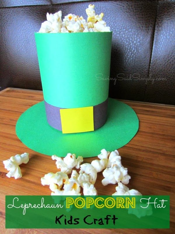 Leprechaun Popcorn Hat Kids Craft for St. Patrick's Day #StPattyDay #KidsCraft #Leprechaun SavingSaidSimply.com