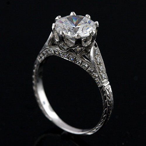 Edwardian style 18k white gold and diamond engraved semi mount engagement ring,setting only,for 8.3 mm round stone by shopevintage on Etsy https://www.etsy.com/listing/230588869/edwardian-style-18k-white-gold-and