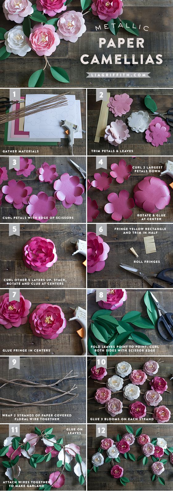 Paper Camellia Tutorial - by Lia Griffith... Thinking about using these to frame the mirror in one of our bathrooms