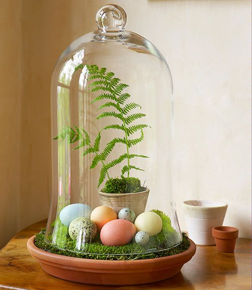 Bell Jar Easter Egg Decorations perhaps upturn a jamjar and place on a saucer?