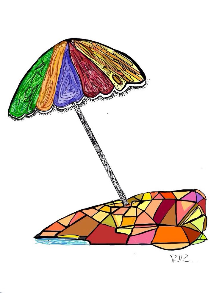 Beach Umbrella   Digital ilustracion for me   Summer Elements Edicion   Sebastian Ruz.-