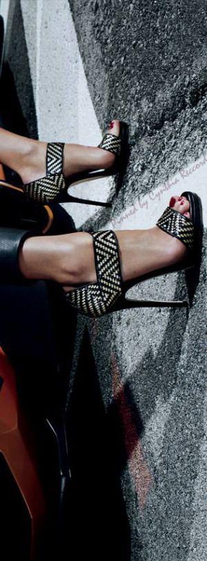Jimmy Choo ~ Spring Leather Sandals, B/W 2015 via cynthia reccord